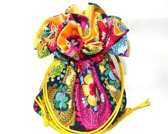 Jewelry Drawstring Travel Bag - Organizer bridal Pouch  -  Multicolor flower Damask