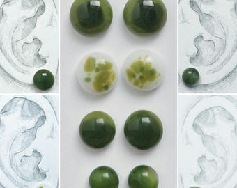 Green Grass Collection-Glass Earrings (Pairs Sold Separately)