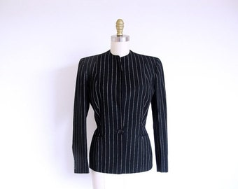 COAT SALE Vintage 50s Black Jacket, Lady's Pinstripe Jacket, Black Fitted Jacket, Women's 1950 Suit Jacket, Wool Jacket