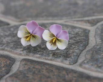 Purple White Pansies Kiss-me-quick Stud Earrings Wholesale Small Hypoallergenic Studs Women Accessory Handmade Wedding Bridal Birthday Gift