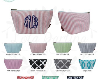 Cosmetic Pouch with Monogram & Zipper/ Pencil Case/ Makeup Bag/ Toiletry Bag/ Travel Bag