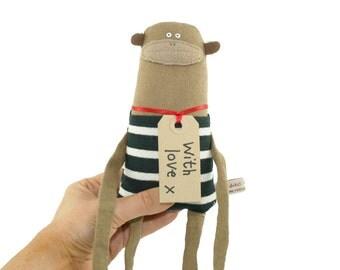 Toy Monkey, OOAK Handmade Toy Monkey, Plush Monkey Doll, Soft Toy Monkey, Monkey Plushie, Monkey Softie, Birthday Gift for Animal Lover