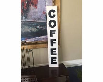 COFFEE Vertical Cafe House Shop Station Sign Farmhouse Plaque HP Perfect for Rae Dunn Mug Collector Fixer Upper Style Wood U Pick Color
