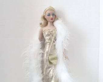 Gene Doll Gold Glamour Gown with White Boa and Handmade Bag