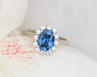 SOLD Blue Sapphire Diamond Halo Engagement Ring, Kate Middleton Style Wedding Ring