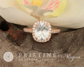 SOLD White Sapphire Rose Gold Engagement Ring Cushion Shape in Diamond Halo
