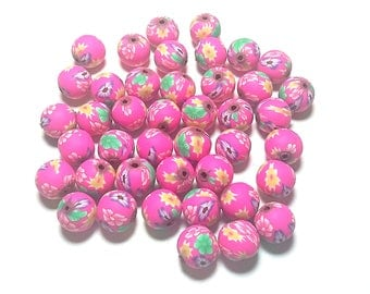 20 Fimo Polymer Clay Round Beads hot pink fuschia yellow flowers beads 12mm