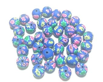 20 Fimo Polymer Clay Round Beads blue green flowers beads 12mm