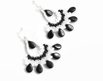Black and White Earrings - Beaded Jewelry - Seed Bead Fan Earrings - Beadwork Jewelry - Lightweight Chandelier Earrings - Boho Earrings