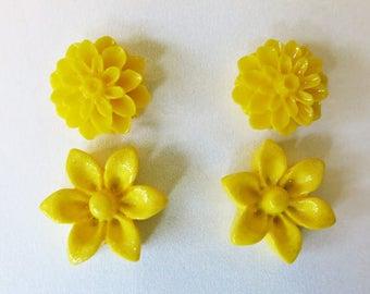 Flower Stud Earrings Yellow Studs Floral Bridal Jewelry Flower Earrings Chyrsanthemum Earrings Spring Jewelry Nickel Free Studs Weddings