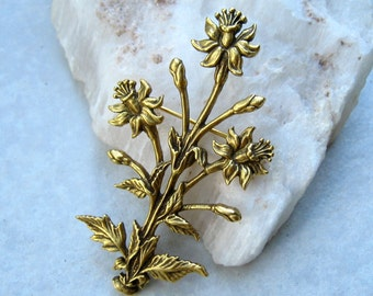 Vintage Narcissus Brooch Museum of Modern Art Gold Plated