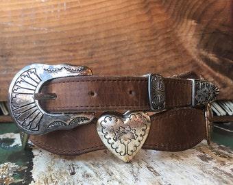 32 waist | Nocona Brown Leather Western Heart Belt