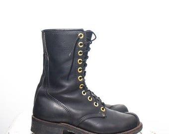 50% OFF Sale 8 | Men's Short Linesman Boots Black Leather Work Boots