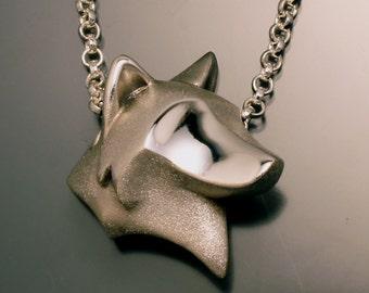 wolf head pendant , silver