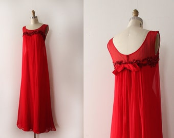 vintage 1960s Emma Domb gown // 60s red chiffon evening gown