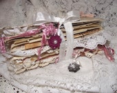 Shabby Vintage Junk Journal Ruffles And Lace Pockets And Sewed Journal Cards With Wedding Cards and Ladies Diary For Love Stoty