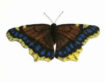 Felted brooch butterfly Mourning Cloak felted jewelry needle felted butterfly brow needle felted brooch birthday gift