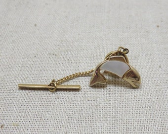Trout Tie Tac, Lapel Pin or Tie Tack, Mother of Pearl, Vintage