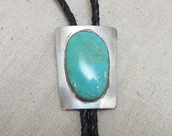 Big Sterling Turquoise Bolo Tie, Modern Bolo Tie, Unisex Sterling Bolo Tie