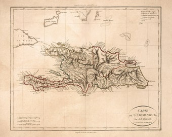Vintage Map - Dominican Republic and Haiti, 1803