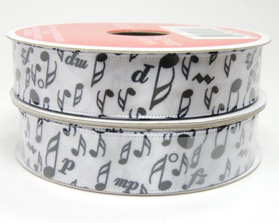 Black and White Music Note Ribbon, White Ribbon with Black Music Notes, Musical Design, Band Student, 5/8 inch, 3 yard roll