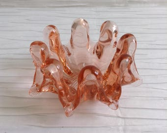 Vintage 1970's Art Glass dish or ashtray.   Modernist, Groovy, Wavy.  Eames, Panton Era. POP Art, OP Art. Psychedelic MOD.  Peach.