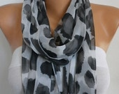 ON SALE --- Gray &Black Leopard Infinity Scarf  Teacher Gift,Fall, Chiffon Circle Loop Scarf Gift Ideas for her Women Fashion Accessories
