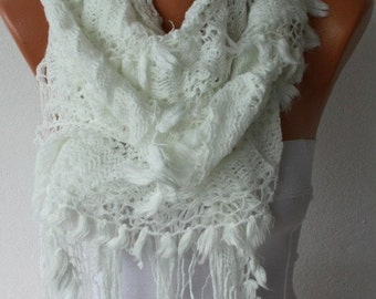 ON SALE --- ON Sale - White Ruffle Lace Knitted Scarf,Winter Scarf,Christmas Gift Shawl Scarf Cowl Scarf  Gift Ideas For Her Women Fashion A
