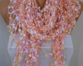 Pink Crochet Scarf,Wedding Accessories,Formal Shawl Cowl Scarf Gift For Her,Mom Women Fashion Accessories ,Bridal Scarf
