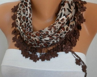 ON SALE --- ON Sale - Brown Leopard Cotton Scarf, Summer Shawl,Wedding Scarf, Cowl Gift Ideas For Her Women Fashion Accessories best selling