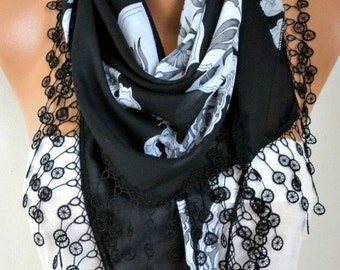 ON SALE --- Black Floral Cotton Scarf Teacher Gift Oversized Wrap Necklace Cowl Scarf Gift Ideas for Her Women Fashion Accessories Mother's