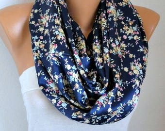 Blue Floral Satin Infinity Scarf Soft Shawl Christmas Gift, Cowl Oversized Wrap Gift For Her Women Fashion Accessories Teacher Gift Scarves