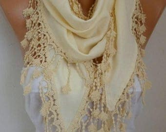 ON SALE --- OOAK Scarf, Yellow Pashmina Scarf, Wedding Shawl,Bridal Scarf, Cowl Scarf Bridesmaid Gift For Her Women's Fashion Accessories,wo