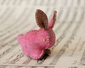 EASTER BUNNY Pink Felted Rabbit Toy -- Handmade pure wool felt -- Easter Baby Shower