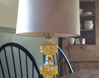 Vintage Yellow Glass Lamp with Marble Base / Brass & Glass Mod Lamp / Mod Glass Hexagon Lamp