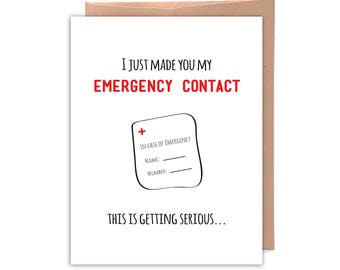 Emergency Contact, Funny Greeting Card, Funny Card, Relationship Card, Love Card