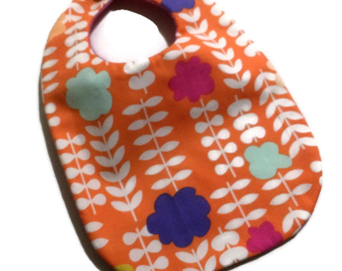 Mod Floral Baby Girl Bib - New Baby Gift - Baby Shower Gift - Baby Gift Under 15