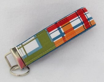 Keyfob wristlet / key chain  /plaid/ key fob