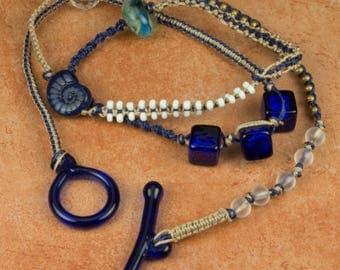 WRAP BRACELET Triple Wrap Macrame Bracelet Lariat Necklace Cobalt Blue Bracelet Gift for Her Christmas Gift Mother's Day Gift Birthday Gift