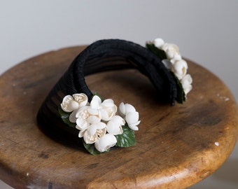 1930s Vintage Cherry Blossoms halo hat
