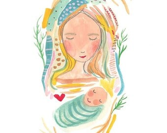 Mom and baby painting, original mother and child art, Mom and son, Mum and baby boy