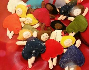 Angioletto di Natale, decorazione in feltro