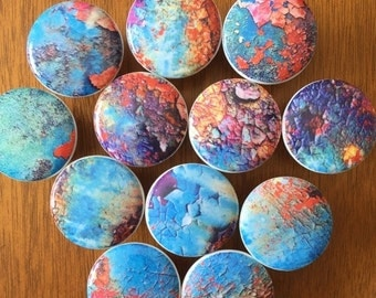 """ON SALE 9 Wood knobs pulls Rusted metal images decorated wooden  Knobs set of 9 -1.5"""" in diameter includes inside coupler and scre"""