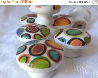 ON SALE Knobs hand decorated  drawer knobs; circles - 1 1/2 inches