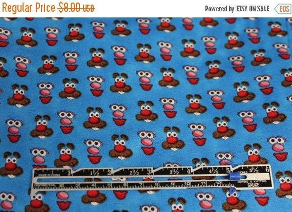 Mr. Potato Head fabric,Blue Mr. Potato Head fabric,Hasbro fabric,Children's fabric,100% Cotton,Quilt Fabric,Apparel Fabric,Craft Fabric,BTY