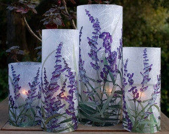 Mexican Sage candle hurricane.  1 Extra Large candle holder with 1 free Electric Tea Light.  Table Centerpiece.  Lighting decor.  Patio.