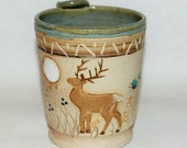 Handmade Pottery Mug / White Tail Deer