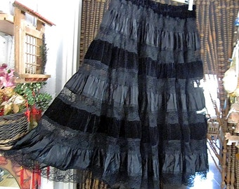 Gorgeous Black Silky Velvet, Lace, & Satin Smocked Skirt, Vintage - Medium to Large