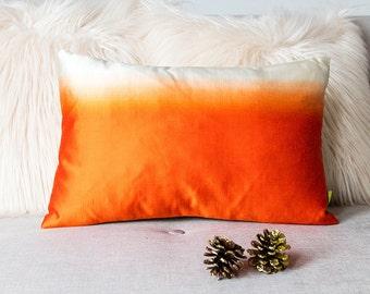 "Tangerine Orange to Cream Ombre Throw Cushion, Rectangular Accent Pillow, Oblong, 12""x18"" Vintage Silk Upcycled Obi Kimono, Limited Edition"