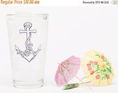 Sale - Clearance - Anchor Pint Glass - Beer Glass - Barware - Natical Glassware - Screen Printed - Made in USA - Nautical - Ocean - Roses -
